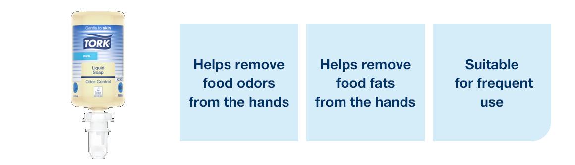 Remove food odor and fats with Tork odor control liquid soap